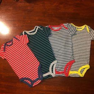 3 Month 4 Matching Set Striped Carter Onesies